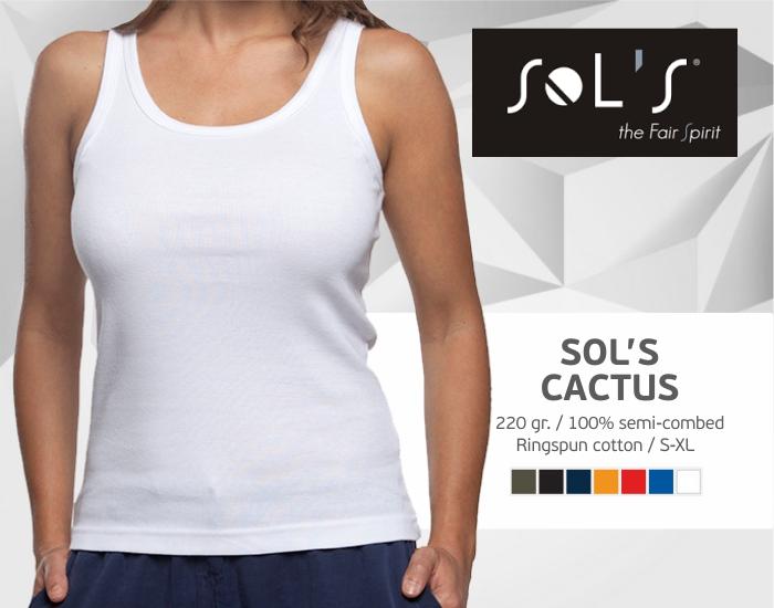 moteriški marškinėliai sols cactus be rankovių, marškinėliai su spaudu, marškinėliai su logotipu, medvilniniai marškinėliai, 7natos.lt, marskineliai.lt,