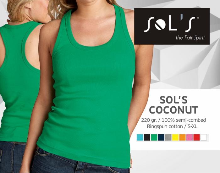 moteriški marškinėliai sols coconut be rankovių, marškinėliai su spaudu, marškinėliai su logotipu, medvilniniai marškinėliai, 7natos.lt, marskineliai.lt,