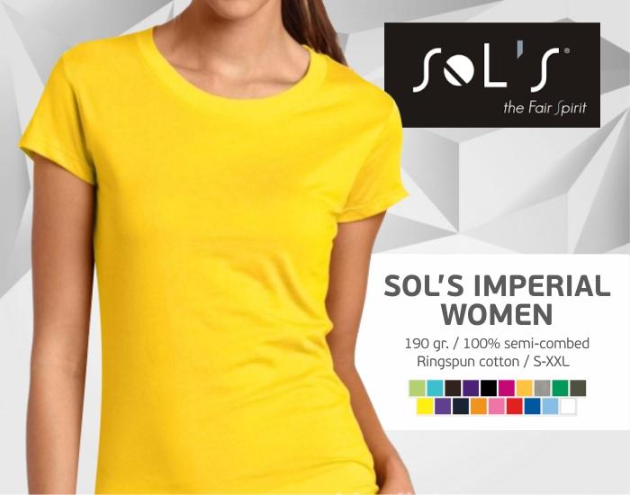 moteriški marškinėliai sols imperial women, marškinėliai su spaudu, marškinėliai su logotipu, medvilniniai marškinėliai, 7natos.lt, marskineliai.lt,