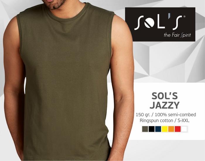 marškinėliai be rankovių sols jazzy, marškinėliai su spaudu, marškinėliai su logotipu, medvilniniai marškinėliai, 7natos.lt, marskineliai.lt,