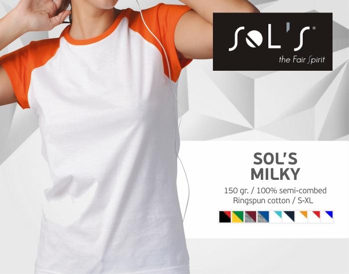 moteriški marškinėliai sols milky, marškinėliai su spaudu, marškinėliai su logotipu, medvilniniai marškinėliai, 7natos.lt, marskineliai.lt,
