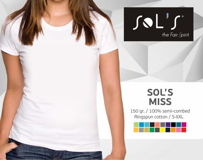 moteriški marškinėliai sols miss, marškinėliai su spaudu, marškinėliai su logotipu, medvilniniai marškinėliai, 7natos.lt, marskineliai.lt,