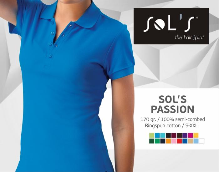 moteriški polo marškinėliai sols passion,polo marškinėliai su spaudu, polo marškinėliai su logotipu, medvilniniai polo marškinėliai, 7natos.lt, marskineliai.lt,