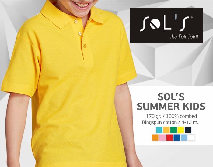 vaikiški polo marškinėliai sols summer kids, polo marškinėliai su spaudu, polo marškinėliai su logotipu, vaikiški medvilniniai polo marškinėliai, 7natos.lt, marskineliai.lt,