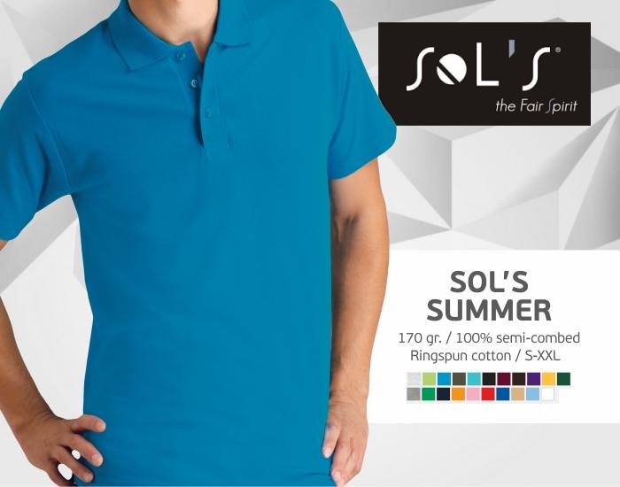 polo marškinėliai sols summer, polo marškinėliai su spaudu, polo marškinėliai su logotipu, medvilniniai polo marškinėliai, 7natos.lt, marskineliai.lt,