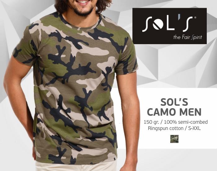 Marškinėliai SOLS CAMO, kamoufliažiniai marškinėliai, marškinėliai su spaudu, marškinėliai su logotipu, medvilniniai marškinėliai, 7natos.lt, marskineliai.lt,