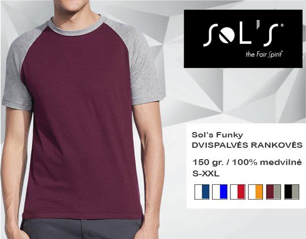Marškinėliai Sols Funky, marškinėliai su spaudu, marškinėliai su logotipu, medvilniniai marškinėliai, 7natos.lt, marskineliai.lt, marškinėliai su logotipu, marškinėliai su užrašu, dvispalviai marškinėliai