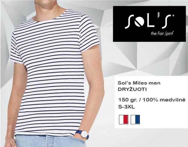 Marškinėliai Sols Miles men, marškinėliai su spaudu, marškinėliai su logotipu, medvilniniai marškinėliai, 7natos.lt, marskineliai.lt, marškinėliai su logotipu, marškinėliai su užrašu, dryžuoti marškinėliai