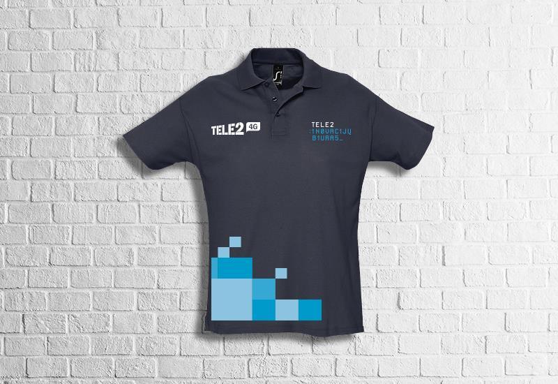 tele2 marškinėliai, polo marskineliai su spauda, mėlyni marškinėliai