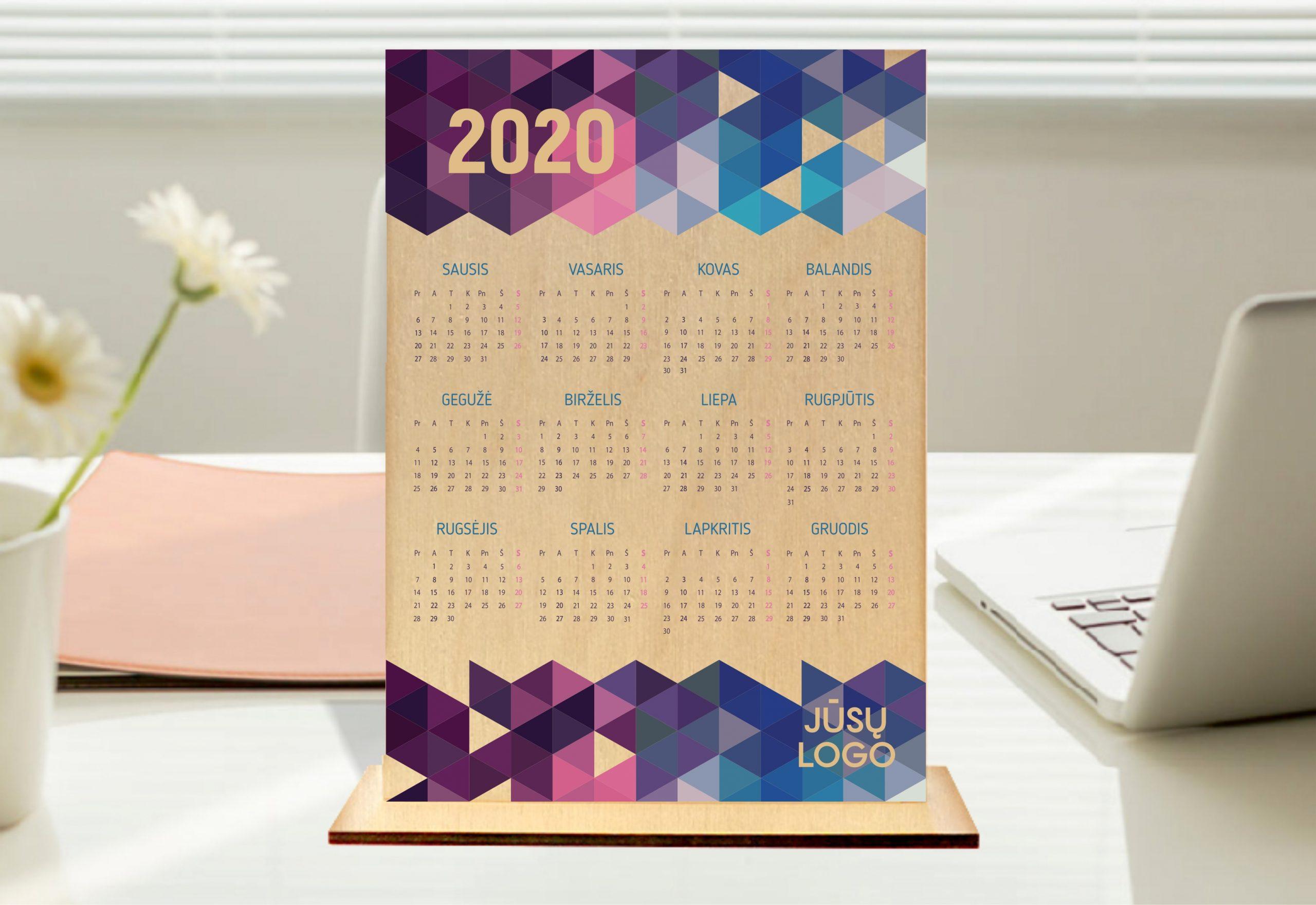 2020 metų kalendorius, kalendorisu su logotipu