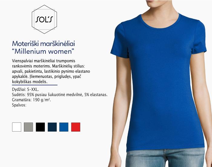 Moteriški marškinėliai Sol's Millenium women marškinėliai su spaudu, marškinėliai su logotipu, medvilniniai marškinėliai, 7natos.lt, marskineliai.lt, marškinėliai su logotipu, marškinėliai su užrašu