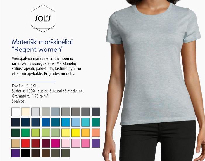 Moteriški marškinėliai Sol's Regent women marškinėliai su spaudu, marškinėliai su logotipu, medvilniniai marškinėliai, 7natos.lt, marskineliai.lt, marškinėliai su logotipu, marškinėliai su užrašu