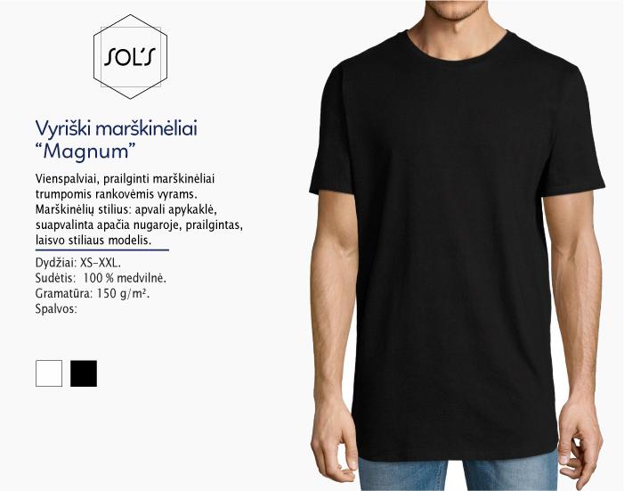 Marškinėliai Sols Magnum, marškinėliai su spaudu, marškinėliai su logotipu, medvilniniai marškinėliai, 7natos.lt, marskineliai.lt, marškinėliai su logotipu, marškinėliai su užrašu, prailginti marškinėliai