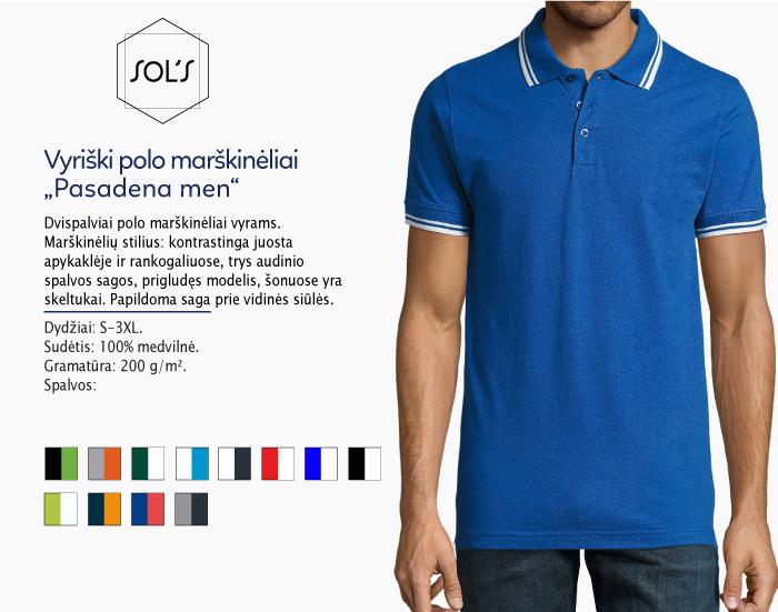 polo marškinėliai sols pasadena men, polo marškinėliai su spaudu, polo marškinėliai su logotipu, medvilniniai polo marškinėliai, 7natos.lt, marskineliai.lt,