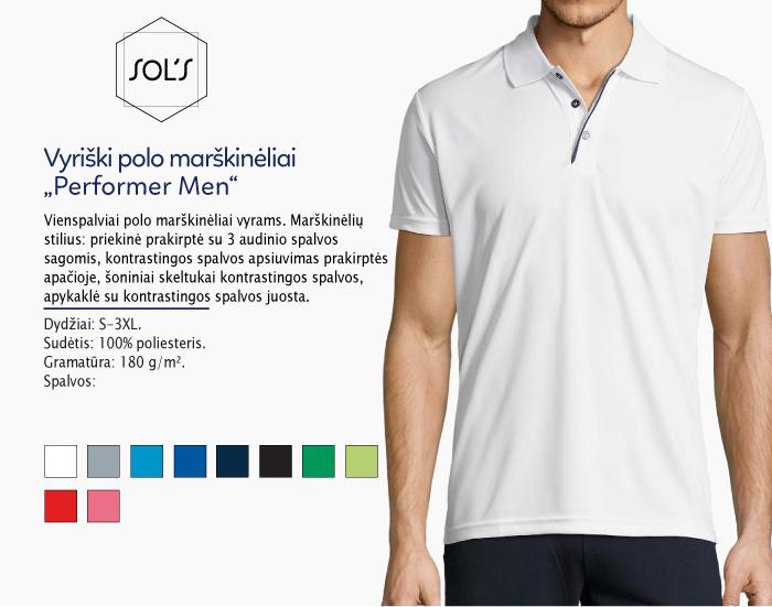 polo marškinėliai sols performer men, polo marškinėliai su spaudu, polo marškinėliai su logotipu, medvilniniai polo marškinėliai, 7natos.lt, marskineliai.lt,