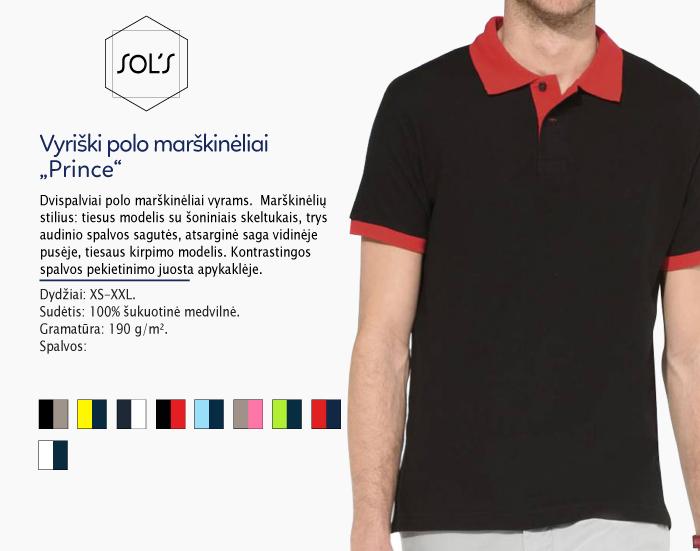 polo marškinėliai sols prince, polo marškinėliai su spaudu, polo marškinėliai su logotipu, medvilniniai polo marškinėliai, 7natos.lt, marskineliai.lt,
