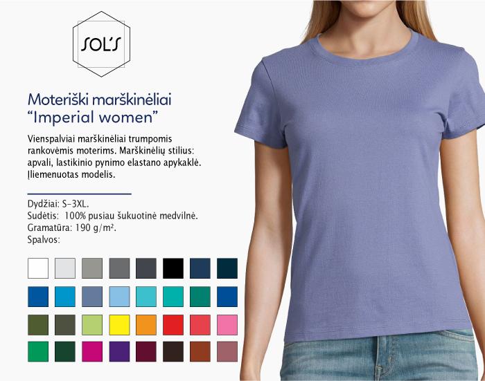 Moteriški marškinėliai Sol's Imperial women marškinėliai su spaudu, marškinėliai su logotipu, medvilniniai marškinėliai, 7natos.lt, marskineliai.lt, marškinėliai su logotipu, marškinėliai su užrašu