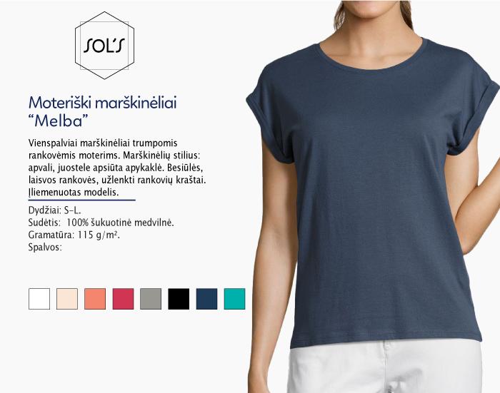 Moteriški marškinėliai Sol's Melba marškinėliai su spaudu, marškinėliai su logotipu, medvilniniai marškinėliai, 7natos.lt, marskineliai.lt, marškinėliai su logotipu, marškinėliai su užrašu