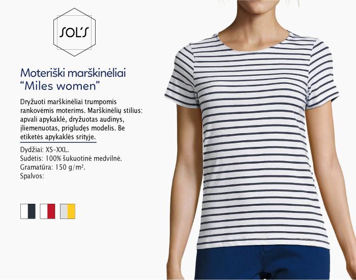 Moteriški marškinėliai Sol's Miles women marškinėliai su spaudu, marškinėliai su logotipu, medvilniniai marškinėliai, 7natos.lt, marskineliai.lt, marškinėliai su logotipu, marškinėliai su užrašu