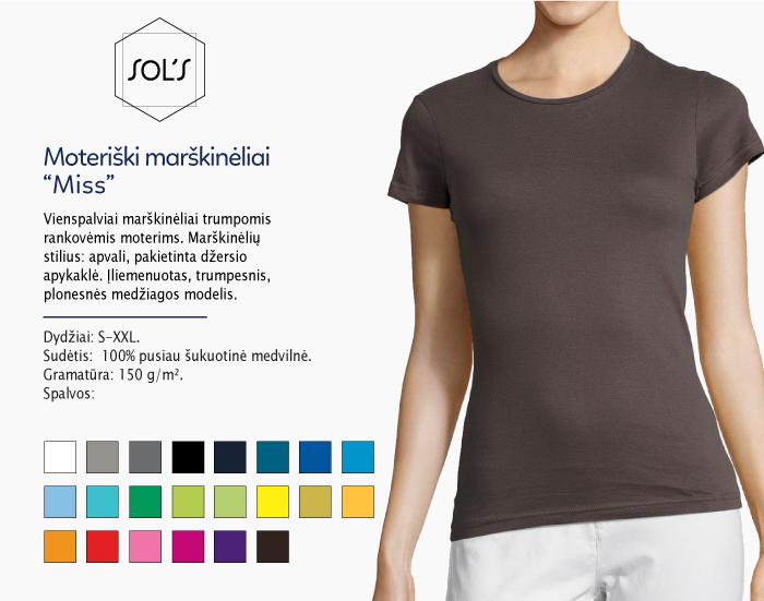 Moteriški marškinėliai Sol's Miss marškinėliai su spaudu, marškinėliai su logotipu, medvilniniai marškinėliai, 7natos.lt, marskineliai.lt, marškinėliai su logotipu, marškinėliai su užrašu