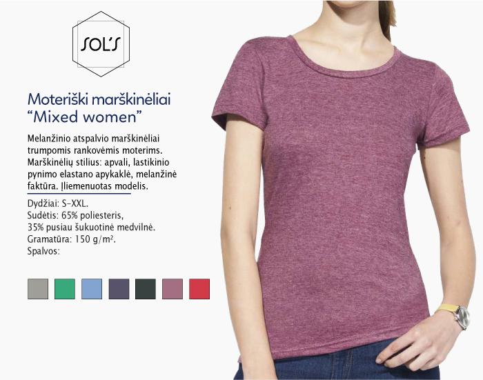 Moteriški marškinėliai Sol's Mixed women marškinėliai su spaudu, marškinėliai su logotipu, medvilniniai marškinėliai, 7natos.lt, marskineliai.lt, marškinėliai su logotipu, marškinėliai su užrašu
