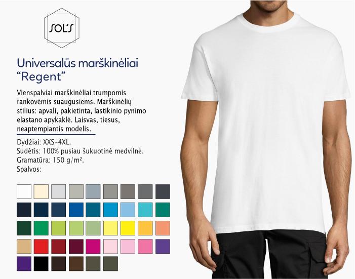 Universalūs marškinėliai Sols Regent, melyni marškinėliai, marskineliai su nuotrauka, marskineliai su logotipu, marskineliai su spauda, vyriški marškinėliai