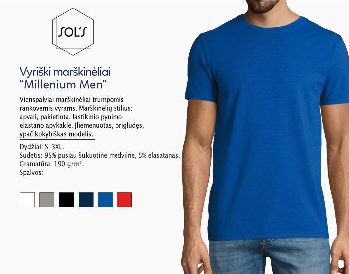 Vyriski marškinėliai Sols Millenium men, melyni marškinėliai, marskineliai su nuotrauka, marskineliai su logotipu, marskineliai su spauda