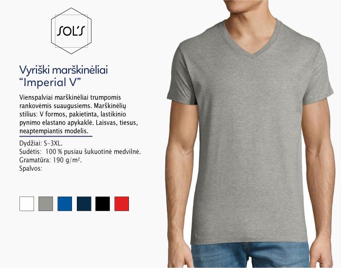 Marškinėliai Sols Imperial V, marškinėliai su spaudu, marškinėliai su logotipu, medvilniniai marškinėliai, 7natos.lt, marskineliai.lt, marškinėliai su logotipu, marškinėliai su užrašu, V apykaklės marškinėliai