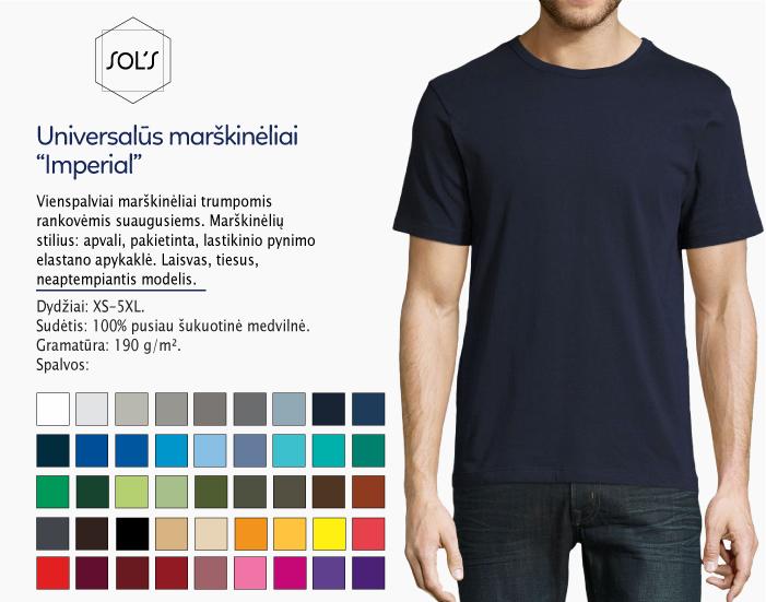 Universalūs marškinėliai Sols Imperial, melyni marškinėliai, marskineliai su nuotrauka, marskineliai su logotipu, marskineliai su spauda