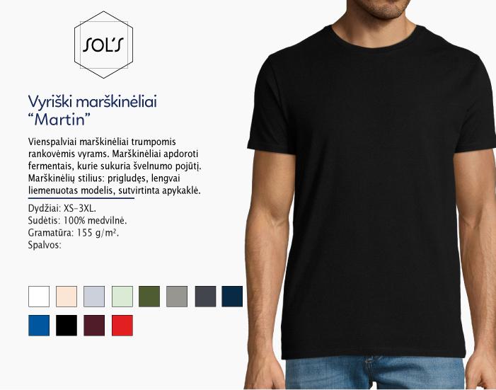 Marškinėliai Sols Martin men, marškinėliai su spaudu, marškinėliai su logotipu, medvilniniai marškinėliai, 7natos.lt, marskineliai.lt, marškinėliai su logotipu, marškinėliai su užrašu, slimfit marškinėlių modelis