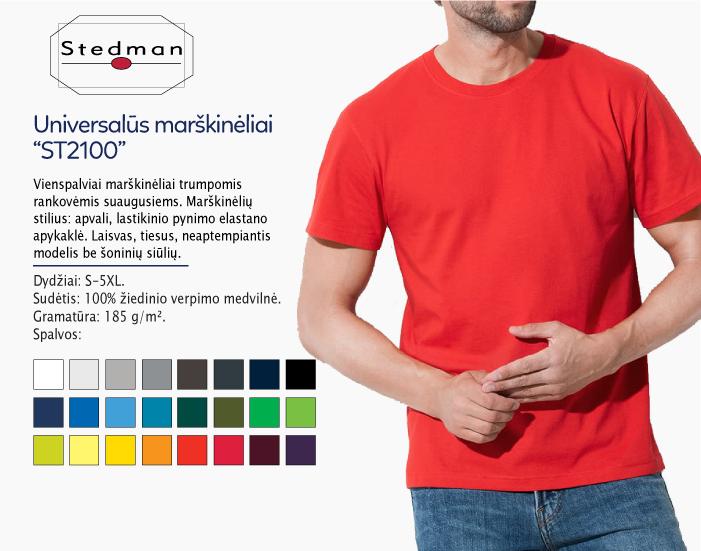 Universalūs marškinėliai Stedman ST2000, raudoni marškinėliai, marskineliai su nuotrauka, marskineliai su logotipu, marskineliai su spauda, verslo dovanos