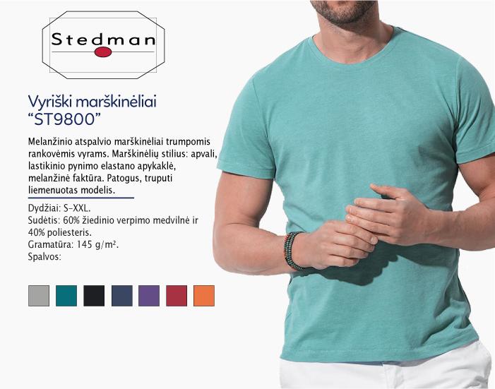 Marškinėliai Stedman ST9800, marškinėliai su spaudu, marškinėliai su logotipu, medvilniniai marškinėliai, 7natos.lt, marskineliai.lt, marškinėliai su logotipu, marškinėliai su užrašu, melanžiniai marškinėliai