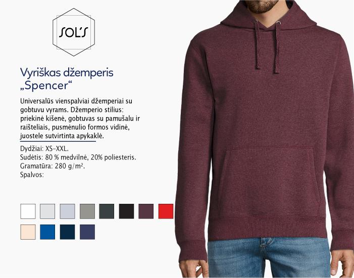 džemperis su kapišonu sols Spencer, džemperiai su spauda, bliuzonai su spaudu, džemperiai su logotipu, medvilniniai džemperiai, medvilniniai bliuzonai 7natos.lt, marskineliai.lt,