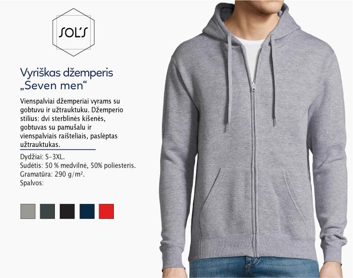 džemperiai vyrams sol's seven men su užtrauktuku, džemperiai su spauda, bliuzonai su spaudu, džemperiai su logotipu, medvilniniai džemperiai, medvilniniai bliuzonai 7natos.lt, marskineliai.lt,