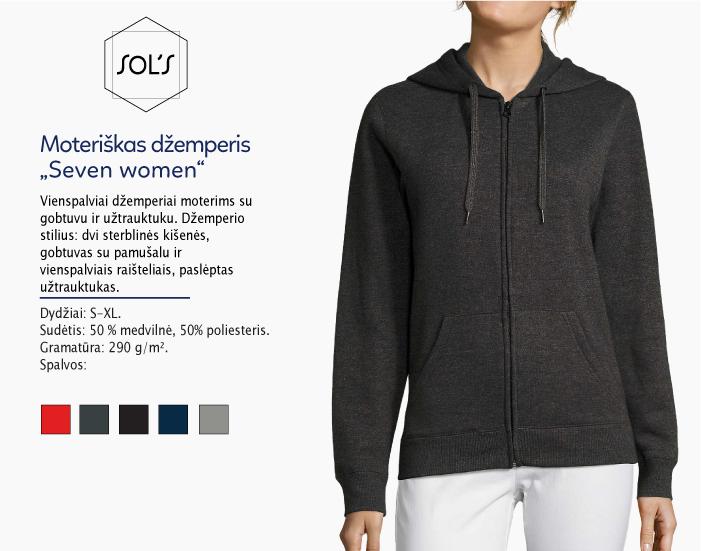 džemperis moterims su užtrauktuku Sols Seven women, džemperiai su spauda, bliuzonai su spaudu, džemperiai su logotipu, medvilniniai džemperiai, medvilniniai bliuzonai 7natos.lt, marskineliai.lt,