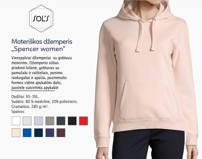 džemperis Sols Spencer women, džemperiai su spauda, bliuzonai su spaudu, džemperiai su logotipu, medvilniniai džemperiai, medvilniniai bliuzonai 7natos.lt, marskineliai.lt,