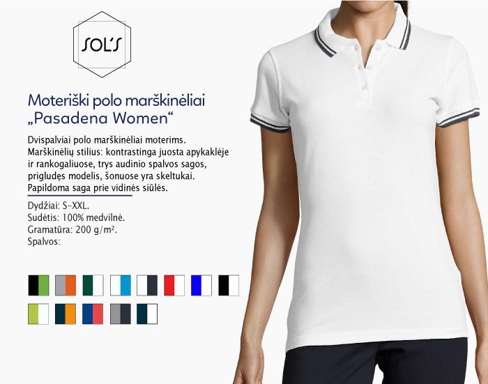 moteriški polo marškinėliai sols pasadena women,polo marškinėliai su spaudu, polo marškinėliai su logotipu, medvilniniai polo marškinėliai, 7natos.lt, marskineliai.lt,