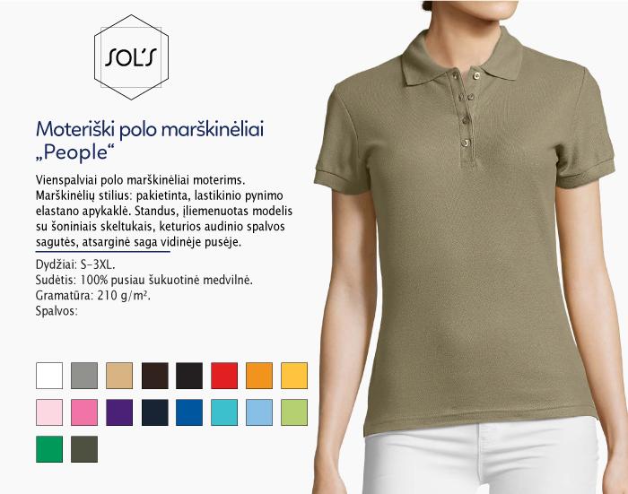 moteriški polo marškinėliai sols people,polo marškinėliai su spaudu, polo marškinėliai su logotipu, medvilniniai polo marškinėliai, 7natos.lt, marskineliai.lt,