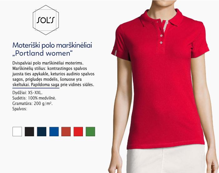 polo marškinėliai moterims sols portland women,polo marškinėliai su spaudu, polo marškinėliai su logotipu, medvilniniai polo marškinėliai, 7natos.lt, marskineliai.lt,