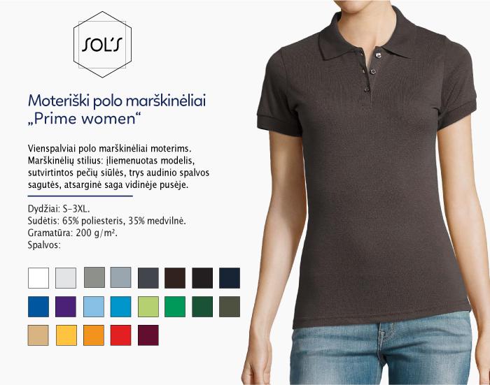 moteriški polo marškinėliai sols prime women,polo marškinėliai su spaudu, polo marškinėliai su logotipu, medvilniniai polo marškinėliai, 7natos.lt, marskineliai.lt,