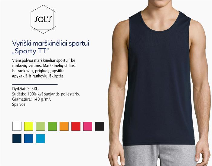 sportiniai marškinėliai be rankoviu vyrams sols sporty men TT, marskineliai sportui, marskineliai maratonui, 7natos.lt, marskineliai.lt