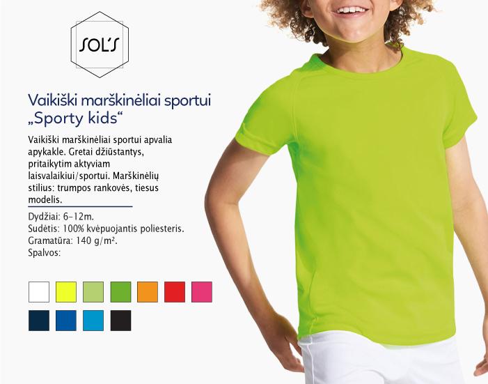 sportiniai marskineliai vaikams sols sporty kids kids, marškinėliai su spaudu, marškinėliai su logotipu, medvilniniai marškinėliai, 7natos.lt, marskineliai.lt,