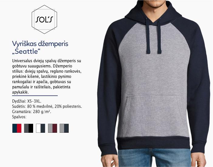 džemperis su kapišonu sols Seatlle, džemperiai su spauda, bliuzonai su spaudu, džemperiai su logotipu, medvilniniai džemperiai, medvilniniai bliuzonai 7natos.lt, marskineliai.lt,