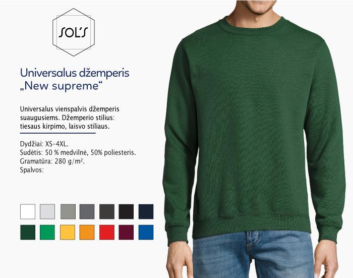 džemperis sols new supreme, džemperiai su spauda, bliuzonai su spaudu, džemperiai su logotipu, medvilniniai džemperiai, medvilniniai bliuzonai 7natos.lt, marskineliai.lt,