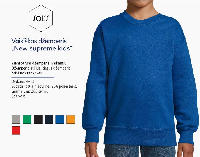 Vaikiškas dzemperis sols new supreme kids kids, džemperiai su spaudu, džemperiai su logotipu, medvilniniai dzemperiai, 7natos.lt, marskineliai.lt,