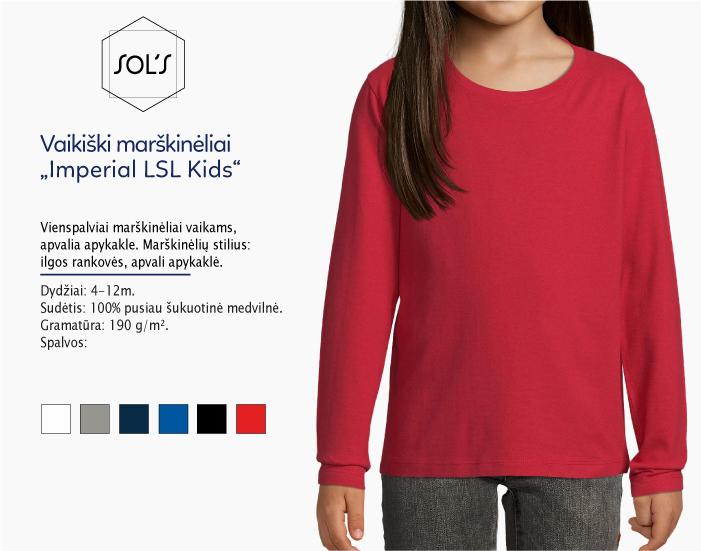 vaikiški marškinėliai ilgomis rankovemis sols imperial lsl kids, marškinėliai su spaudu, marškinėliai su logotipu, medvilniniai marškinėliai, 7natos.lt, marskineliai.lt,