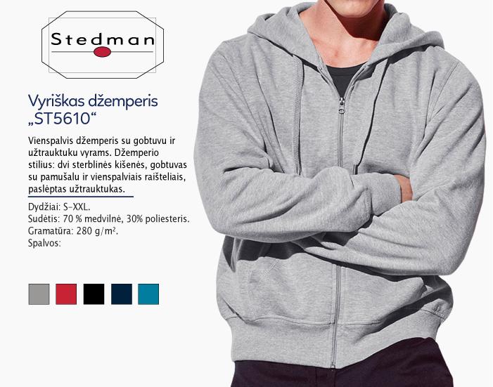 džemperiai vyrams stedman st5610 su užtrauktuku, džemperiai su spauda, bliuzonai su spaudu, džemperiai su logotipu, medvilniniai džemperiai, medvilniniai bliuzonai 7natos.lt, marskineliai.lt,