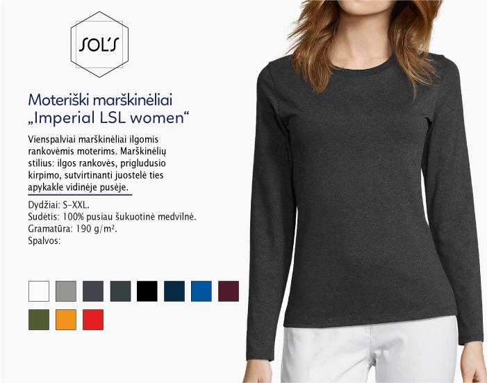moteriški marškinėliai sols imperial women ilgomis rankovėmis, marškinėliai su spaudu, marškinėliai su logotipu, medvilniniai marškinėliai, 7natos.lt, marskineliai.lt,
