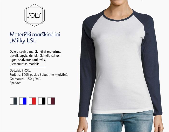 moteriški marškinėliai sols milky LSL ilgomis rankovėmis, marškinėliai su spaudu, marškinėliai su logotipu, medvilniniai marškinėliai, 7natos.lt, marskineliai.lt,