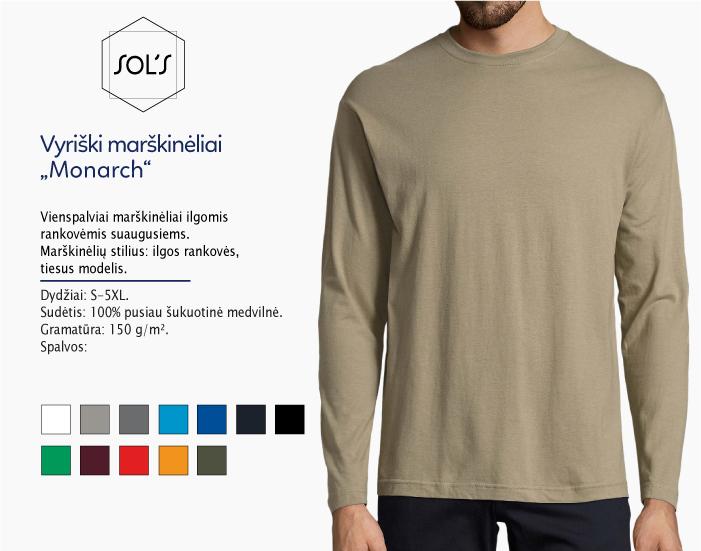 marškinėliai sols monarch ilgomis rankovėmis, marškinėliai su spaudu, marškinėliai su logotipu, medvilniniai marškinėliai, 7natos.lt, marskineliai.lt,